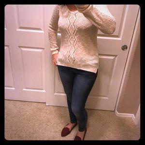 Cream knit hi lo sweater size L
